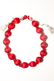 Handmade by CA artist Silky Fabric-Wrapped, Bead Necklace - Product Mini Image
