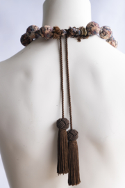 Handmade by CA artist Silky-Fabric Wrapped, Bead Necklace - Side cropped