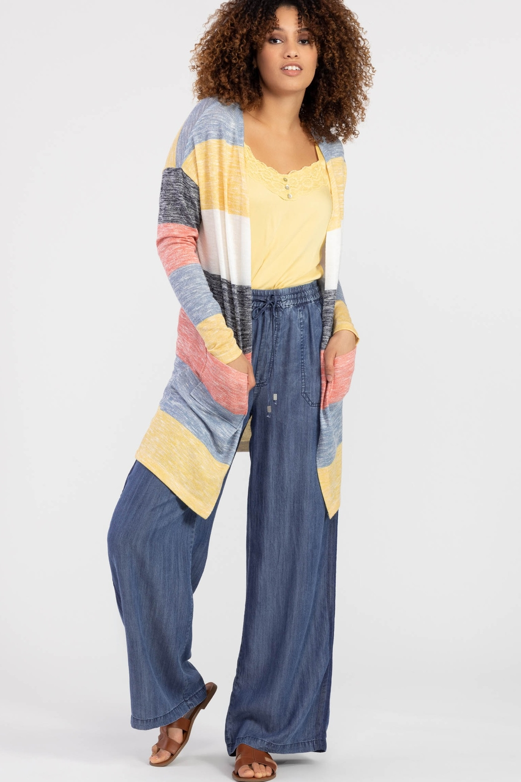 Tribal Jeans Bold n Beautiful Stripe Cardigan - Front Cropped Image