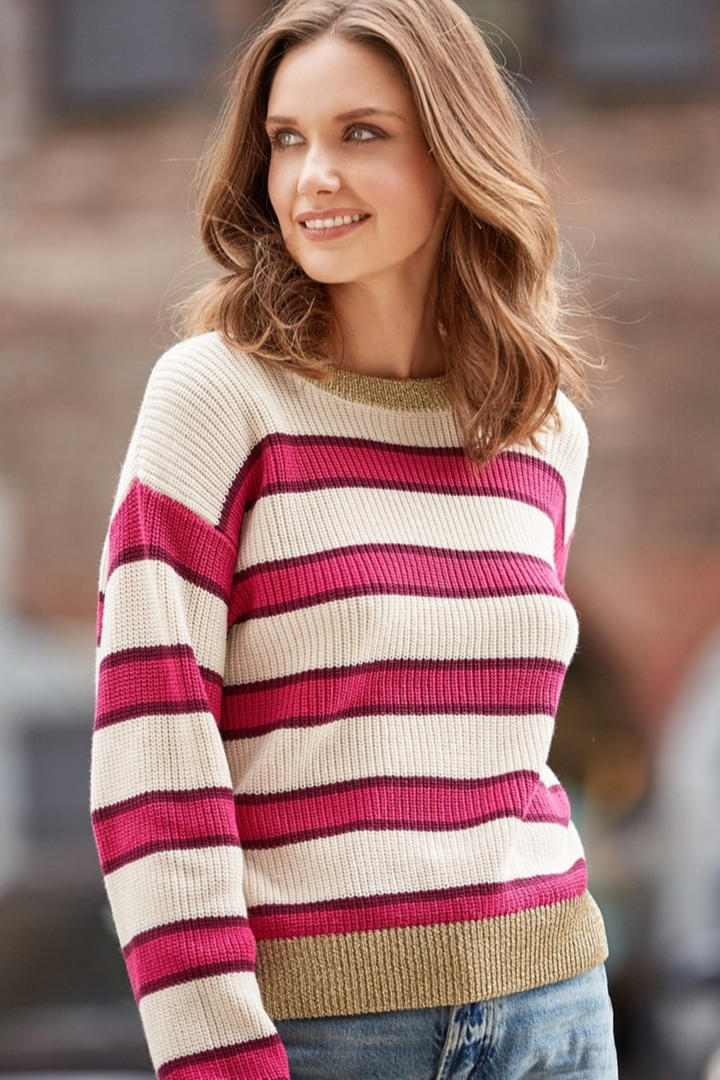 525 America Bold Pink Stripe/Lurex Trim Sweater - Front Cropped Image