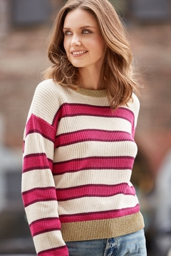 Shoptiques Product: Bold Pink Stripe/Lurex Trim Sweater