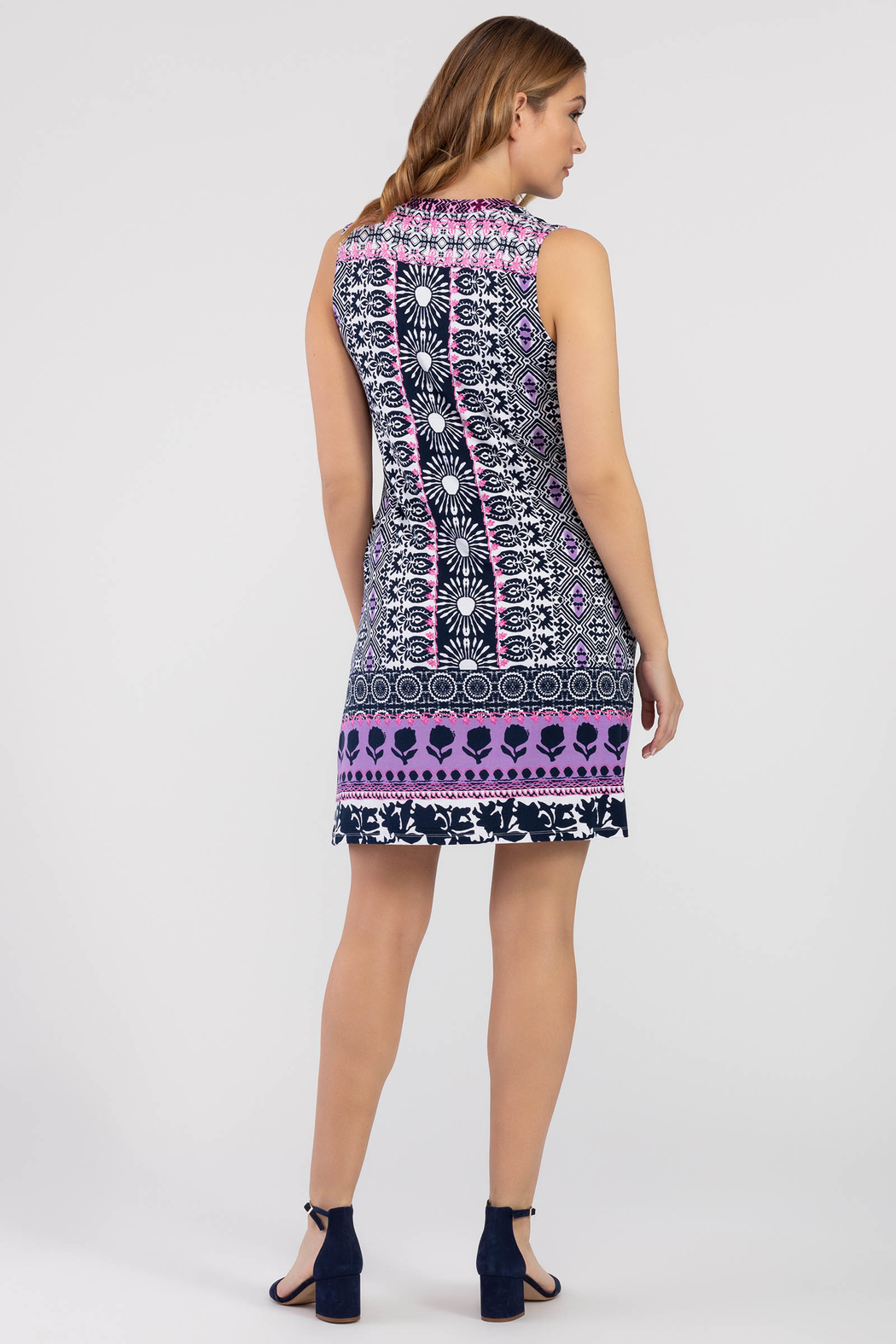 Tribal Femme Bold Print Dress With Pockets - Front Full Image