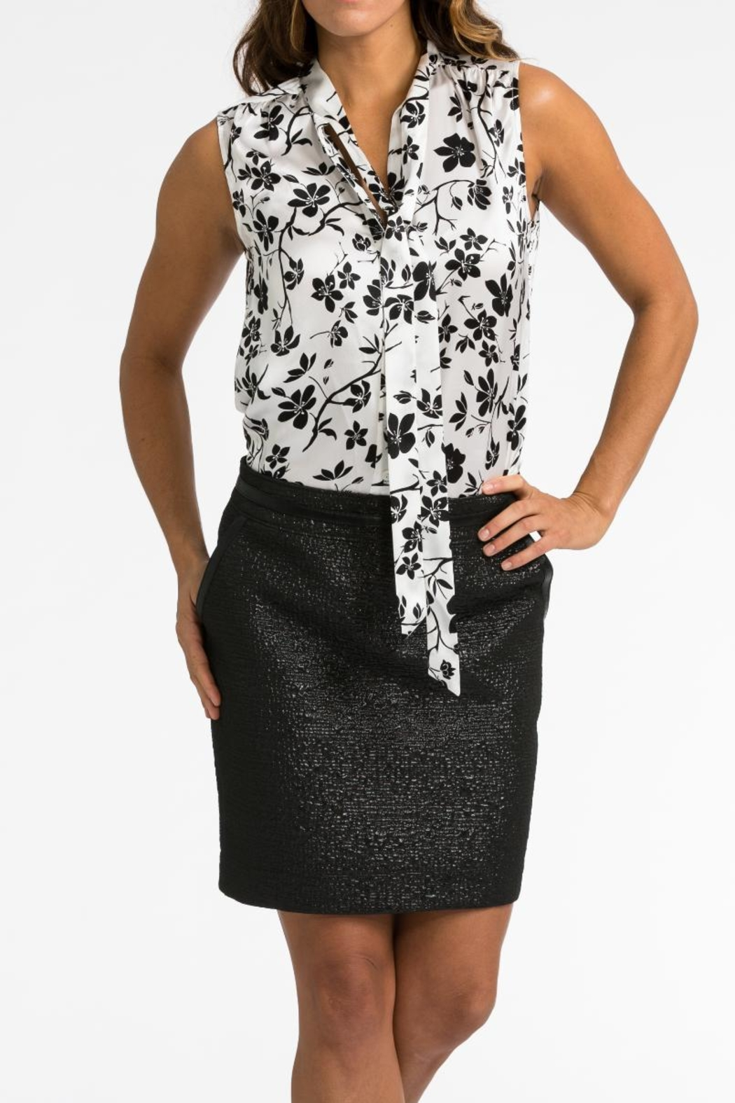 BOLDI Tie Front Blouse - Front Full Image