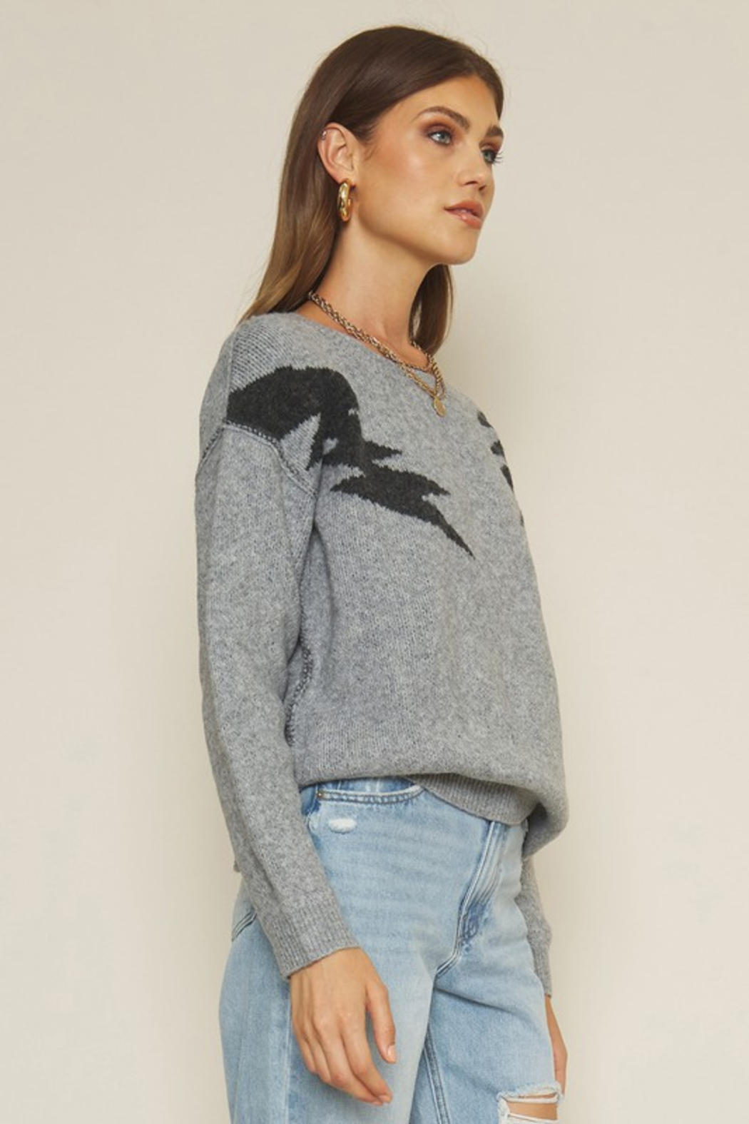 Dee Elly Bolt Sweater - Front Full Image
