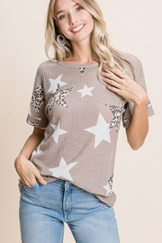 bom bom Leopard-Print Star Waffle-Tee - Front cropped