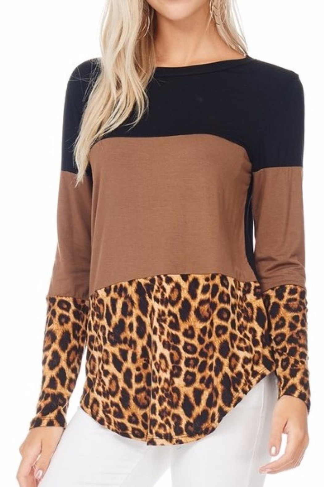 bombom Cheetah Block Top - Front Cropped Image