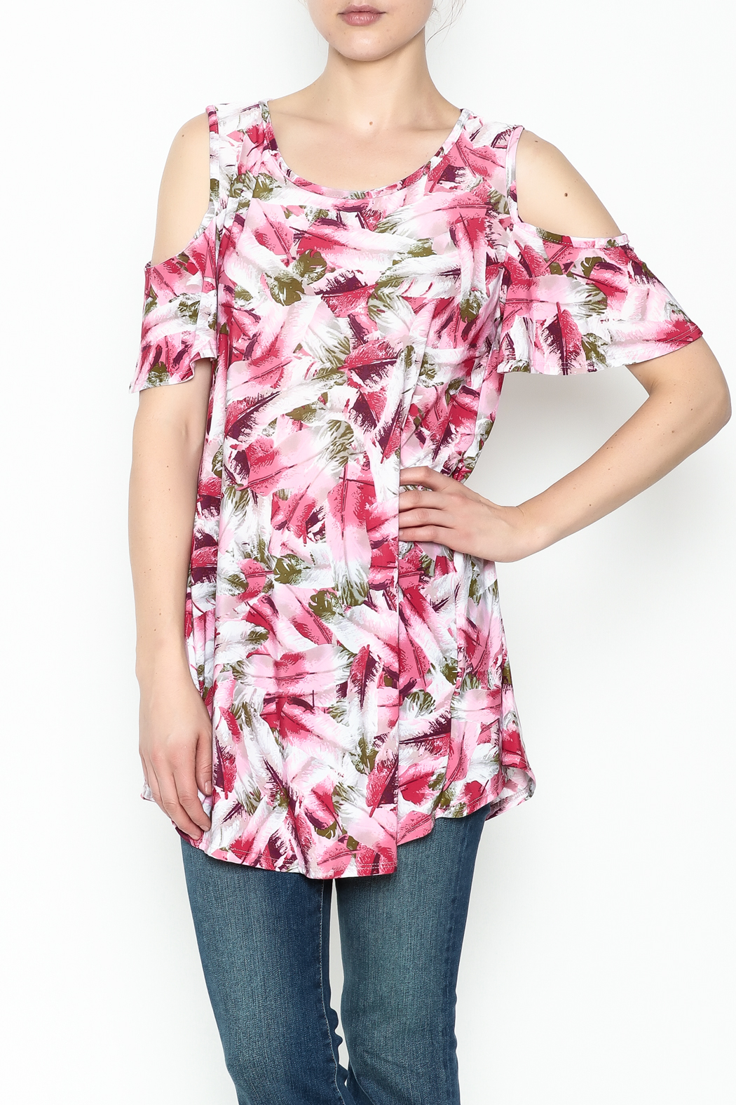 bombom Pink Feather Tunic - Front Cropped Image