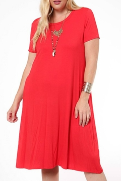 Shoptiques Product: Red Short-Sleeve Dress
