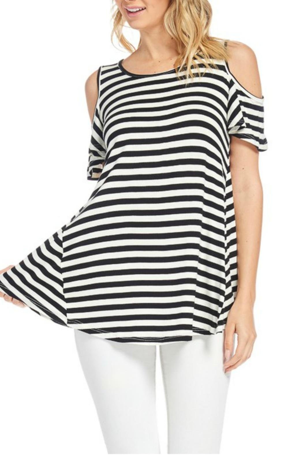 bombom Striped Cold Shoulder Top - Main Image
