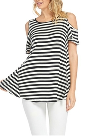bombom Striped Cold Shoulder Top - Product Mini Image