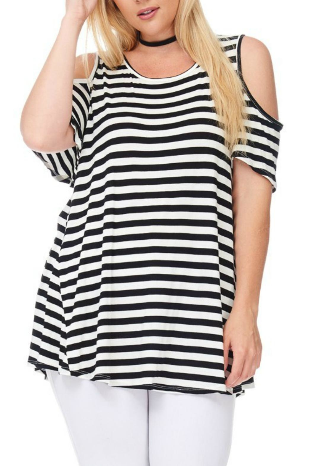 bombom Striped Cold Shoulder Top - Side Cropped Image