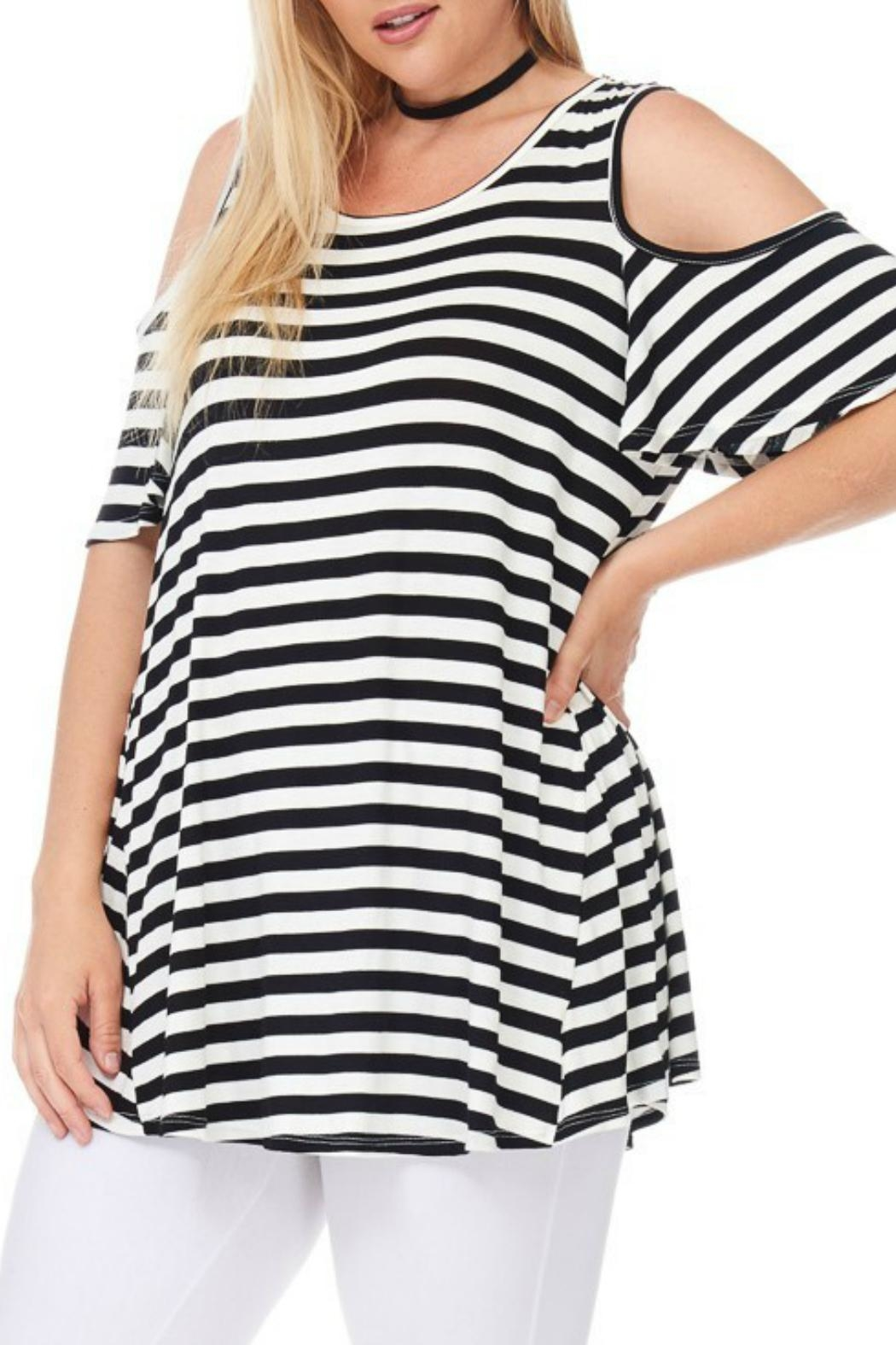 bombom Striped Cold Shoulder Top - Back Cropped Image