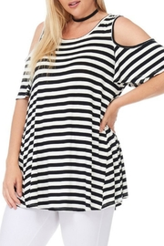 bombom Striped Cold Shoulder Top - Back cropped
