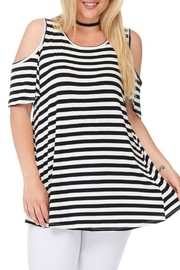 bombom Striped Cold Shoulder Top - Front cropped