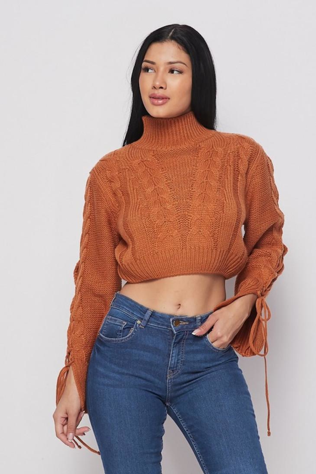 Bonded Cropped Sweater - Front Full Image