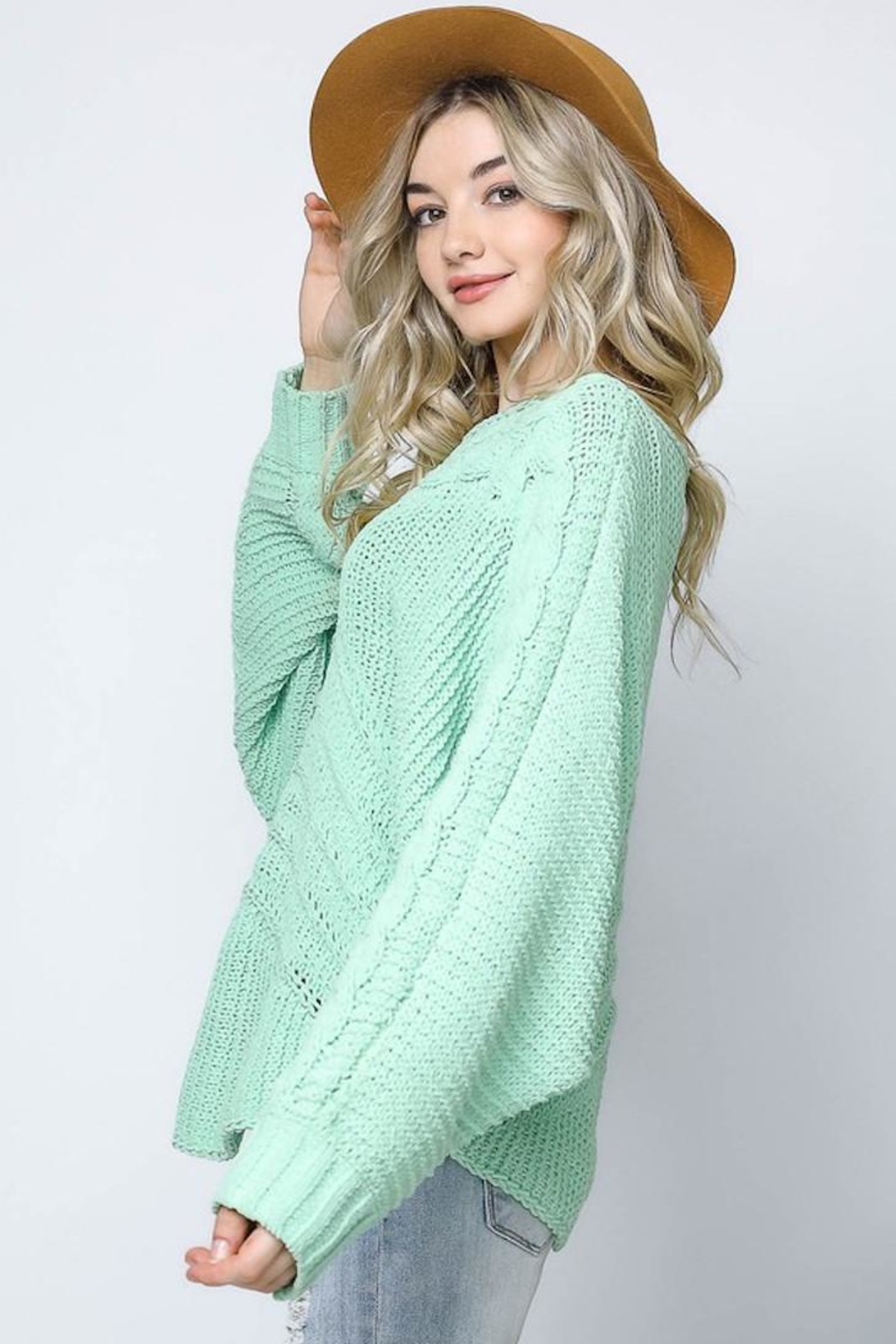 Bonded Mint Sweater - Side Cropped Image