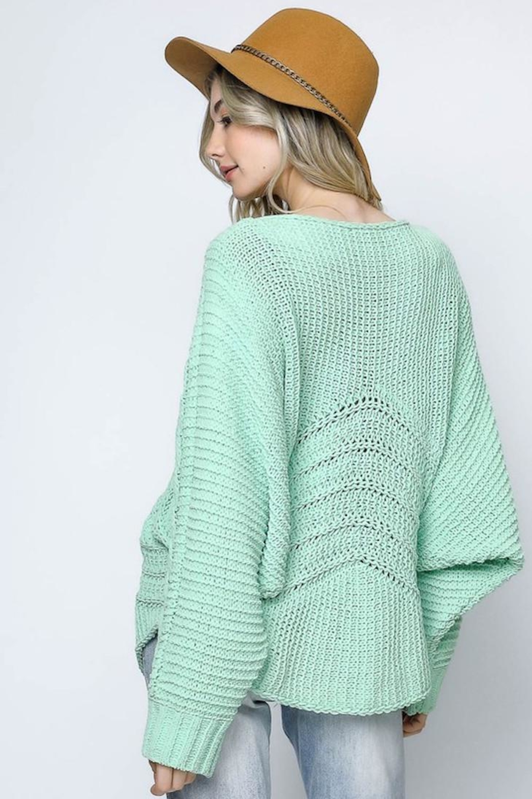 Bonded Mint Sweater - Back Cropped Image