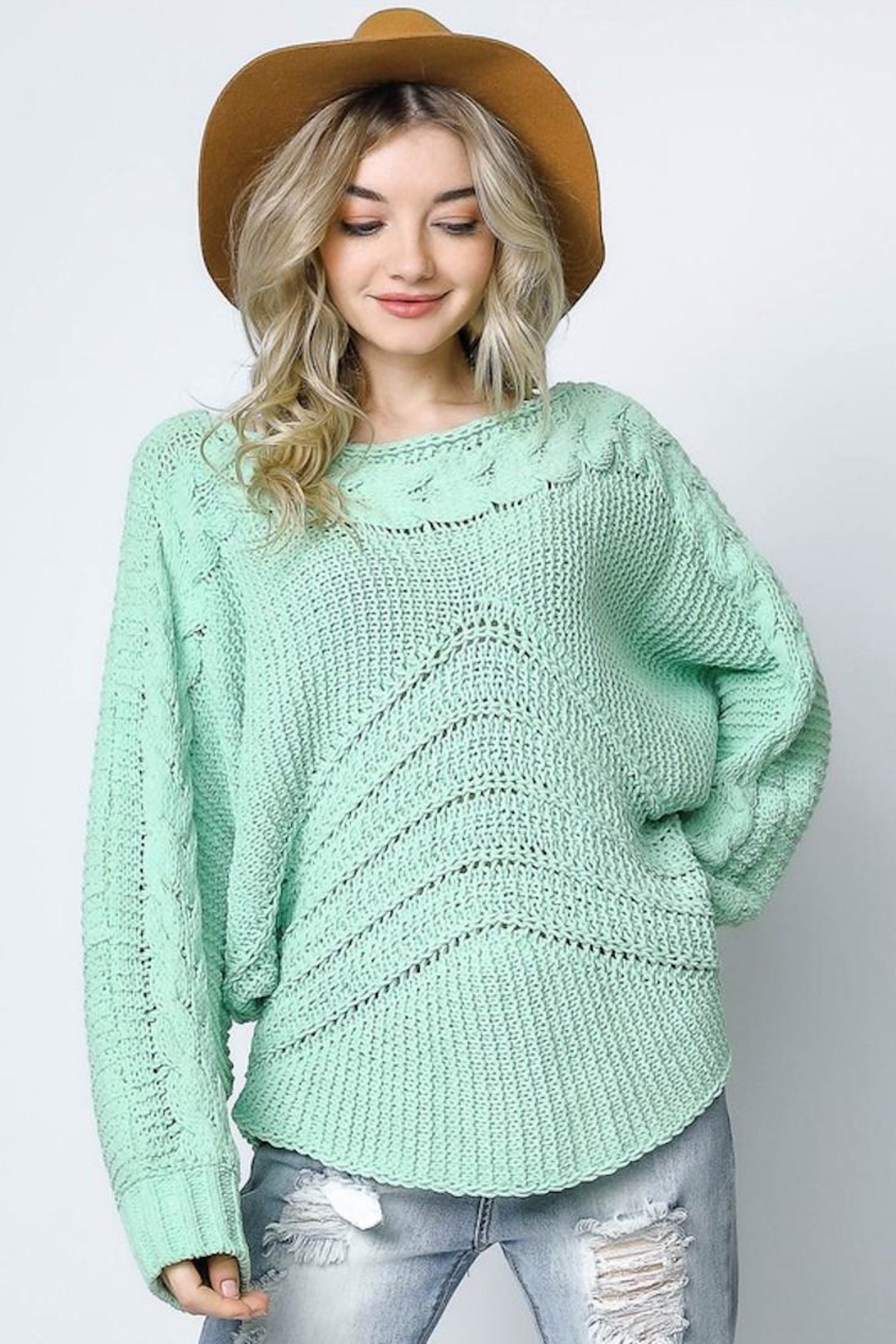 Bonded Mint Sweater - Front Full Image