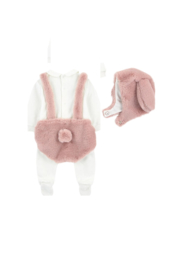 Il Gufo Bonnet with ear flaps and matching onesie - Front cropped