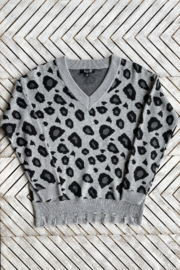 AZI Bonnie Distressed Animal  Print Sweater - Front cropped