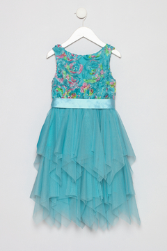 Bonnie Jean Aqua Petal Dress - Alternate List Image