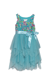 Bonnie Jean Aqua Petal Dress - Product Mini Image