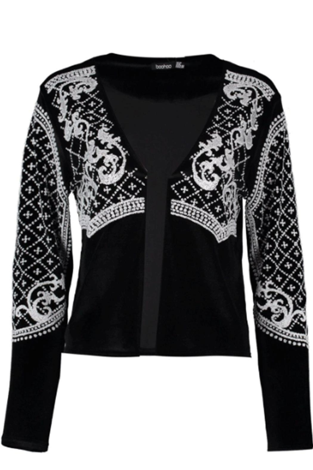 Boohoo Beaded Velvet Jacket - Side Cropped Image