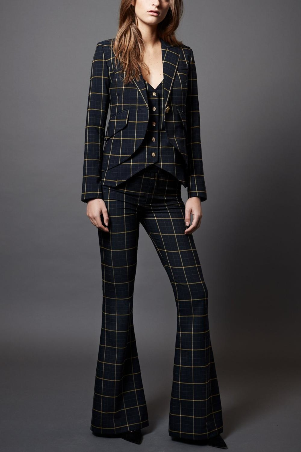 Smythe Bootcut Checks Pant - Front Cropped Image