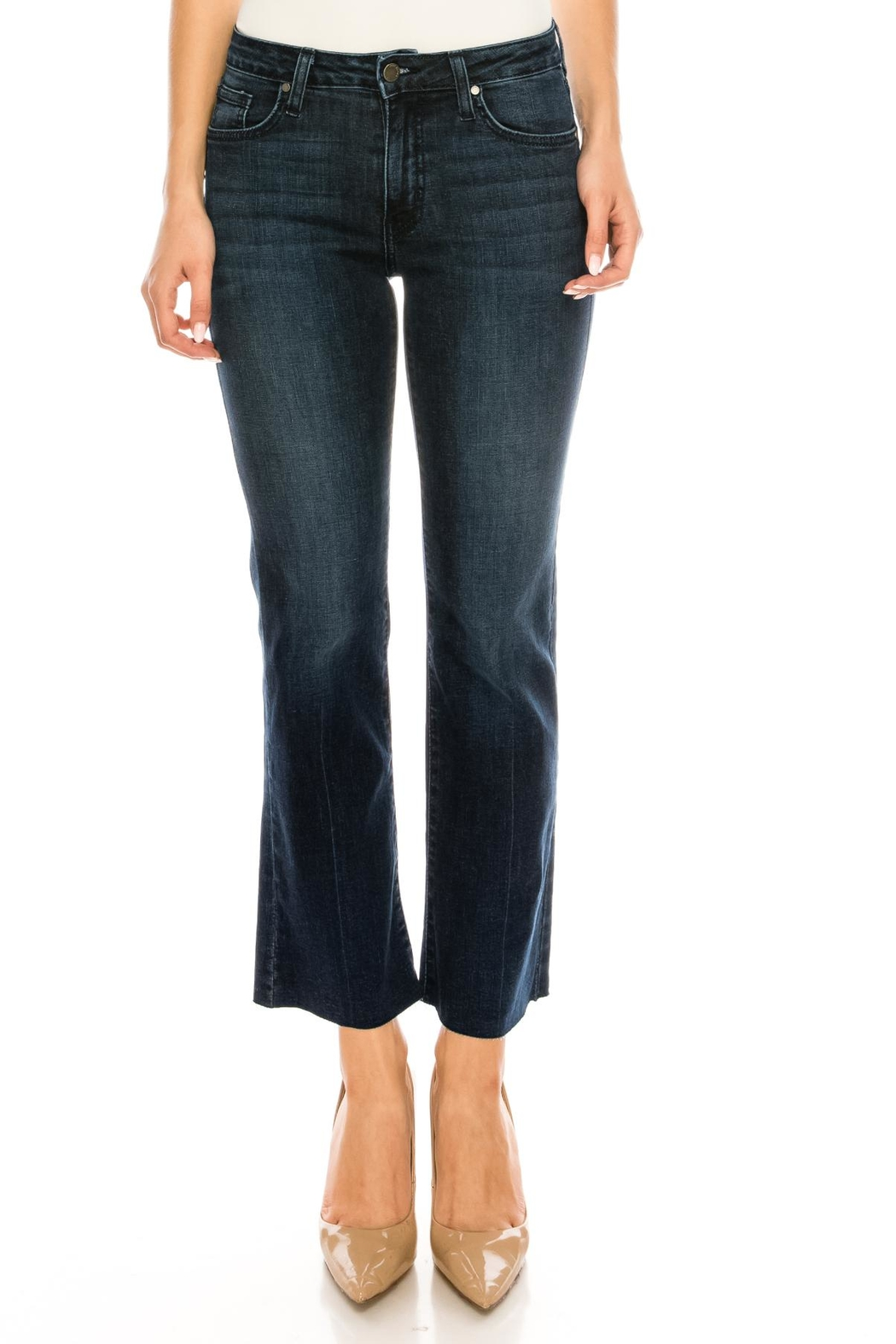 just black Bootcut Cropped Jeans - Front Full Image