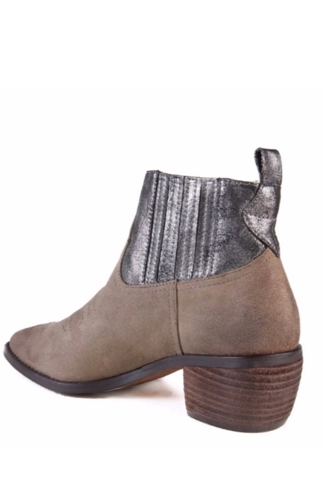 Band Of Gypsies Borderline Mirco Cow Suede Taupe Booties - Side Cropped Image