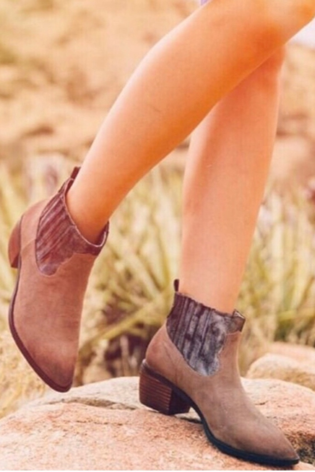 Band Of Gypsies Borderline Mirco Cow Suede Taupe Booties - Main Image