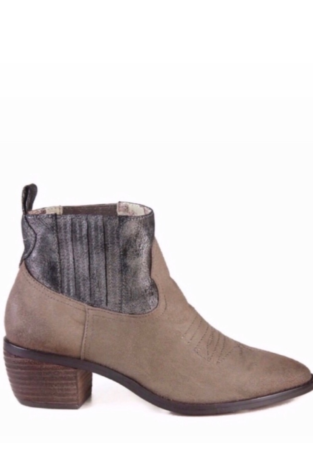 Band Of Gypsies Borderline Mirco Cow Suede Taupe Booties - Front Full Image