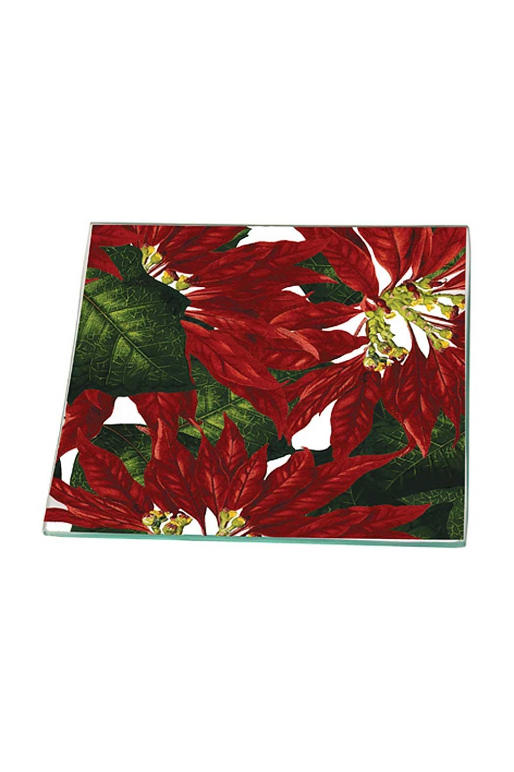 Boston International Poinsettia Glass Plate - Front Cropped Image