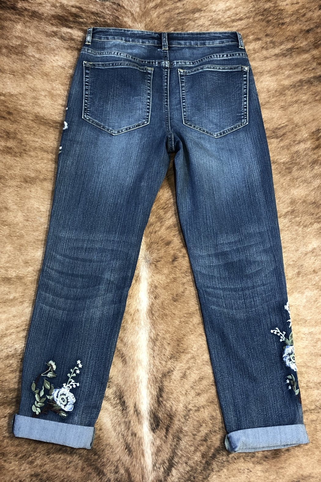 Tru Luxe Botonical Embrodiered Jean - Front Full Image