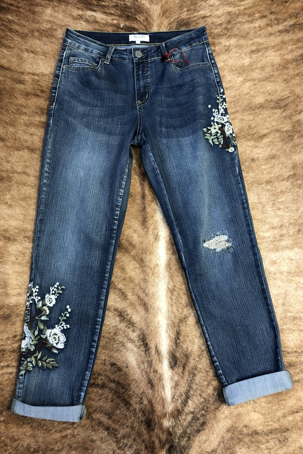 Tru Luxe Botonical Embrodiered Jean - Main Image