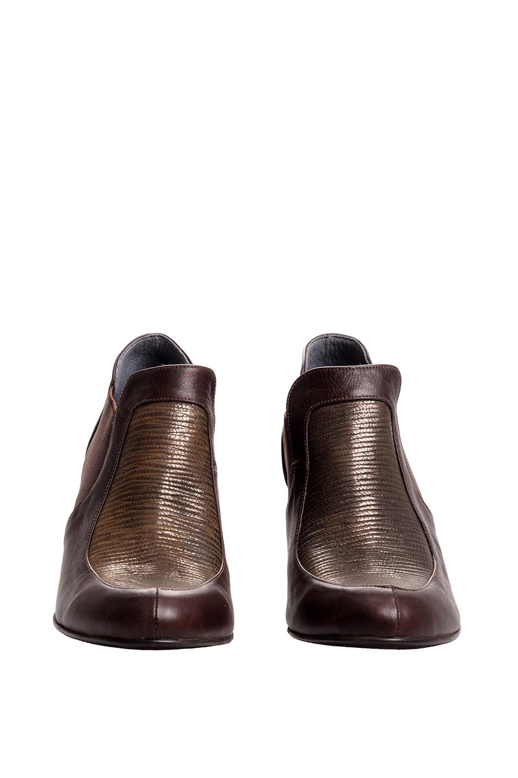Bottega Bash Brown Leather Booties - Front Full Image