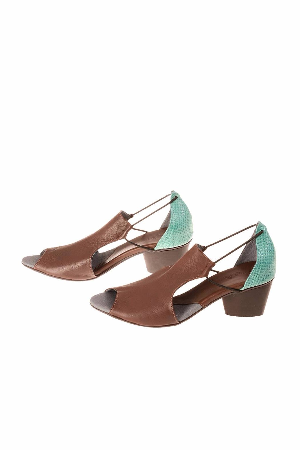 Bottega Bash Brown & Turquoise Heel - Front Cropped Image