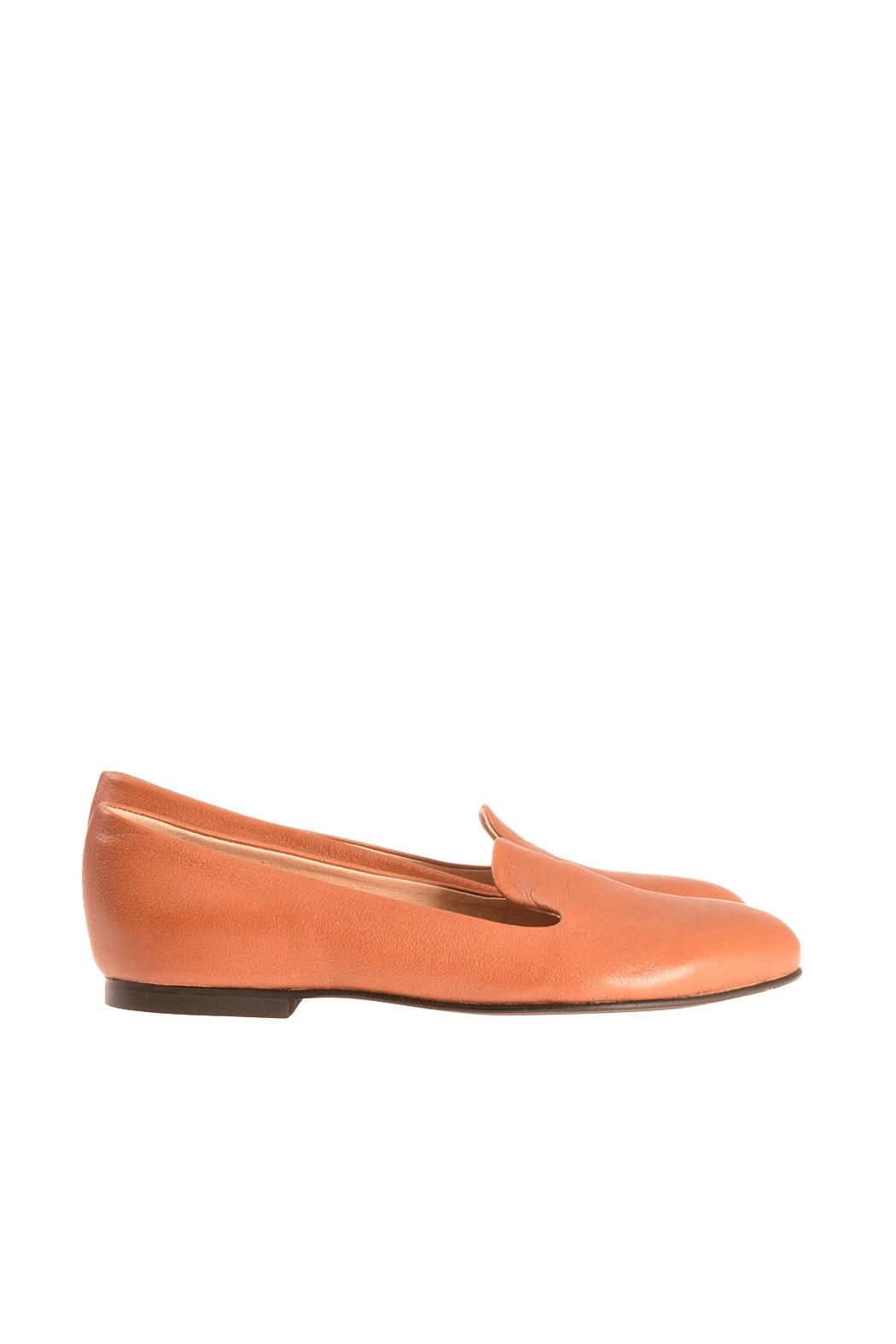 Bottega Bash Camel Leather Loafers - Back Cropped Image