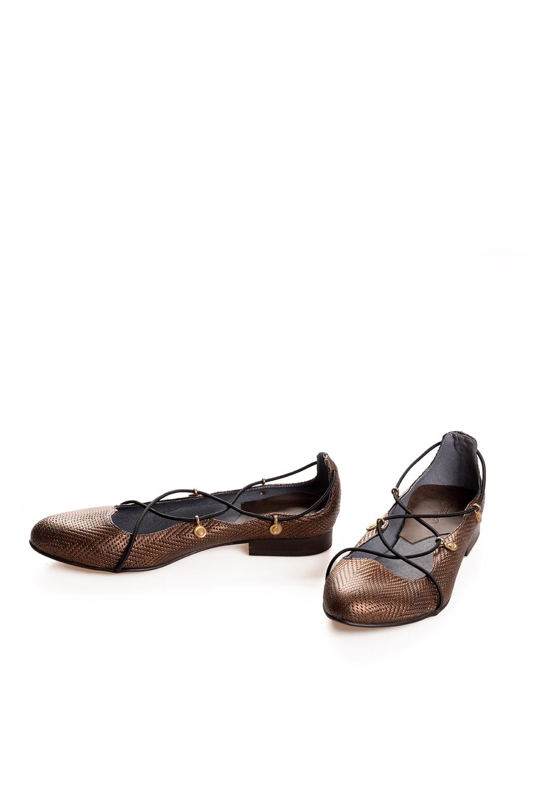 Bottega Bash Gold Leather Loafers - Side Cropped Image
