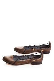 Bottega Bash Gold Leather Loafers - Front cropped
