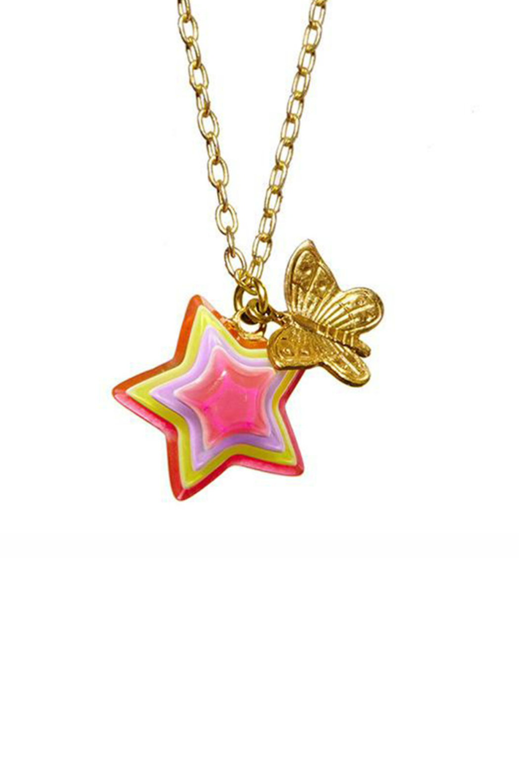 Bottleblond Jewels Neon Butterfly Necklace - Front Cropped Image