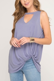 She + Sky Bottom Knot Top - Front cropped
