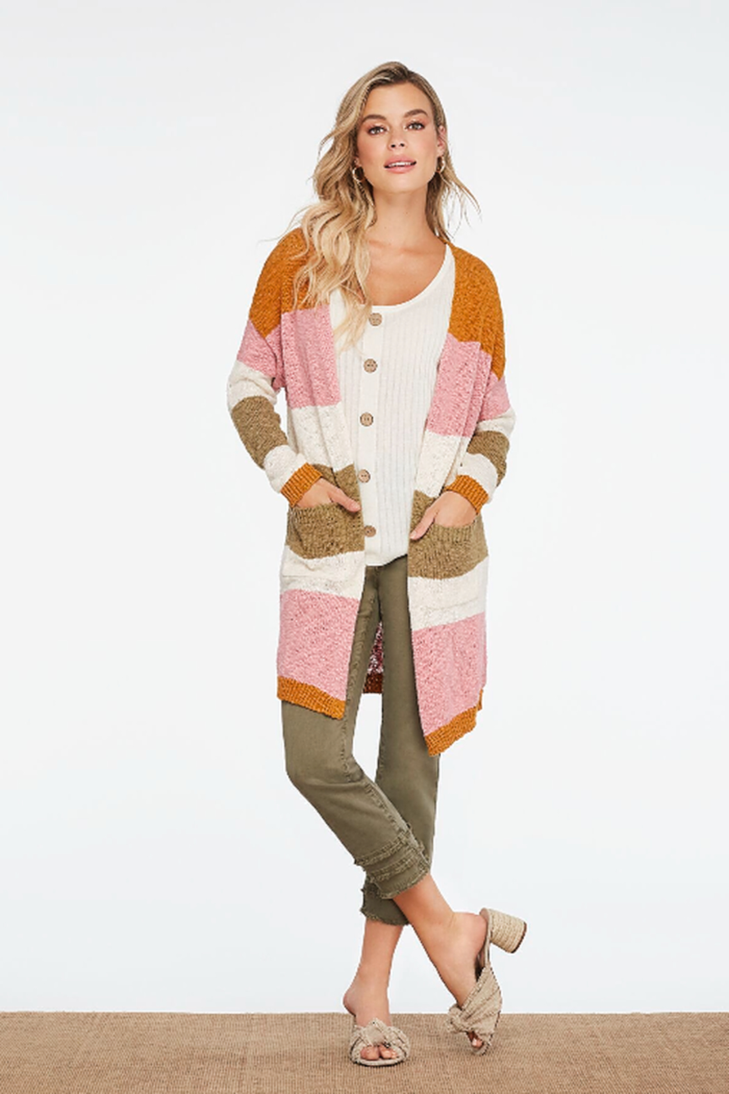 Charlie B. Boucle Cotton Cardigan - Front Cropped Image