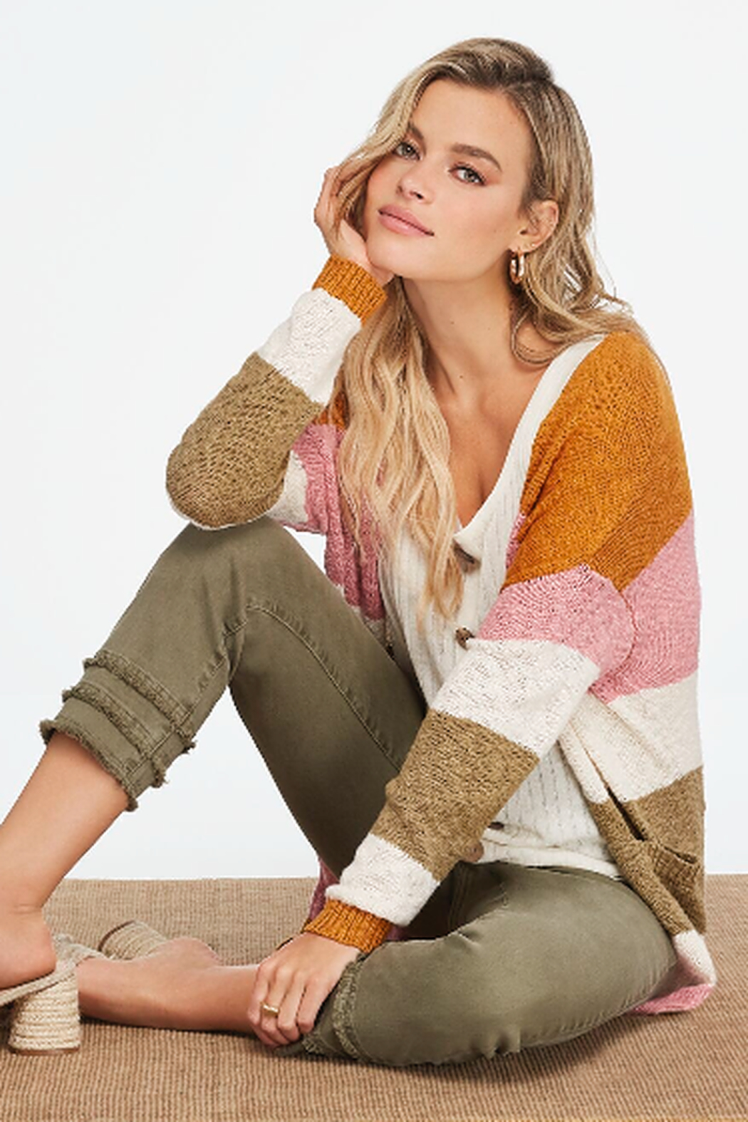 Charlie B. Boucle Cotton Cardigan - Front Full Image