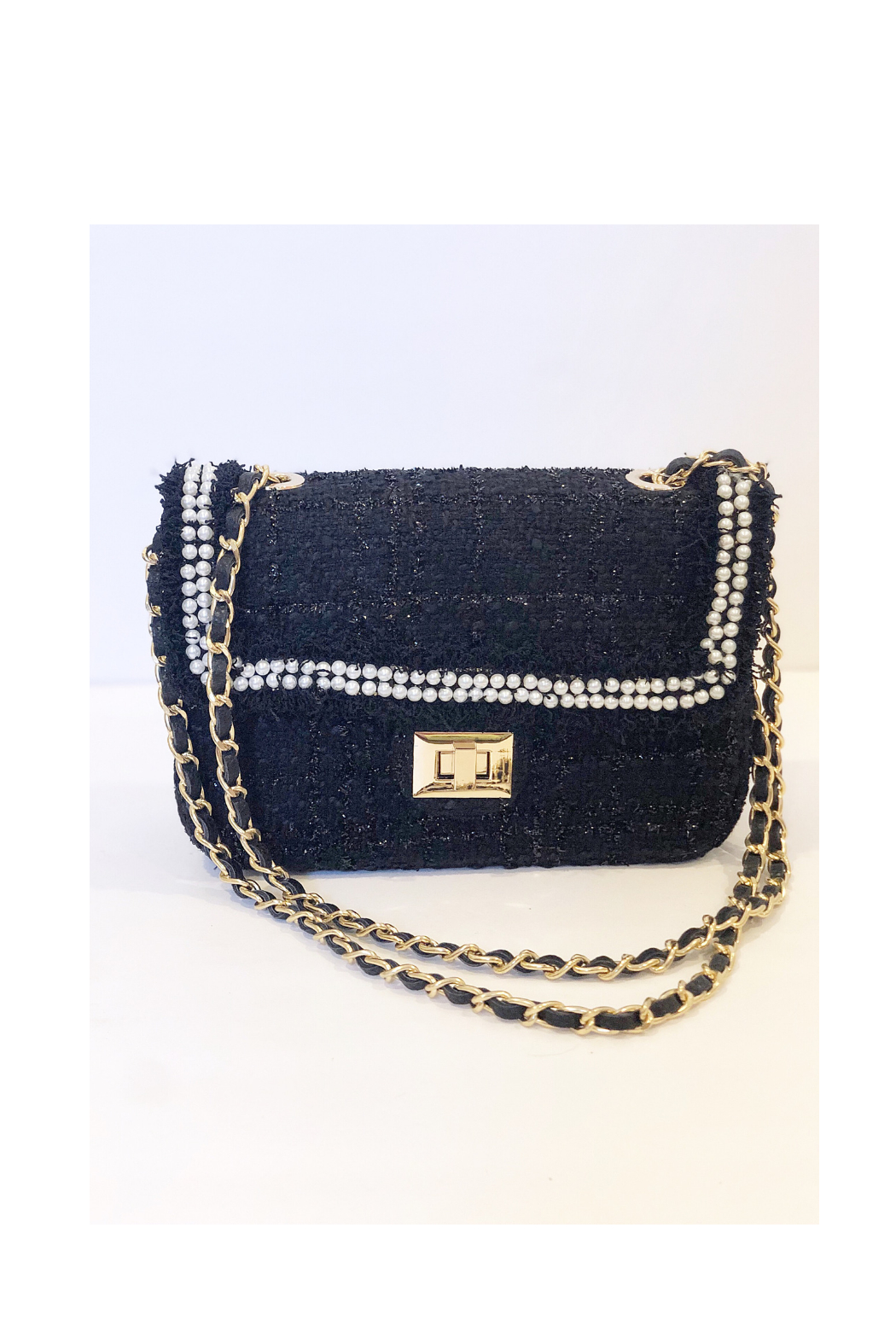 INZI Boucle Handbag with Pearl Adornments - Front Cropped Image