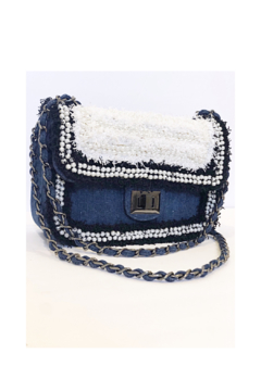 INZI Boucle Handbag with Pearl Adornments - Product List Image