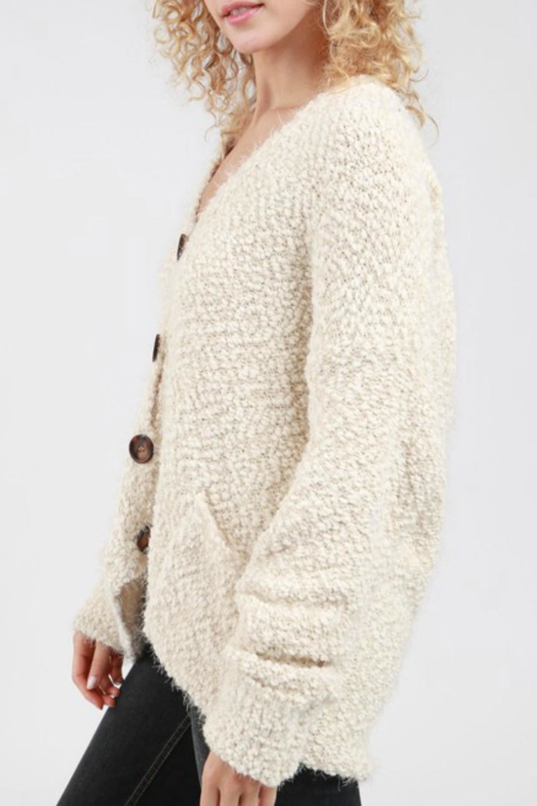 POL Boucle Hooded Cardigan - Front Full Image