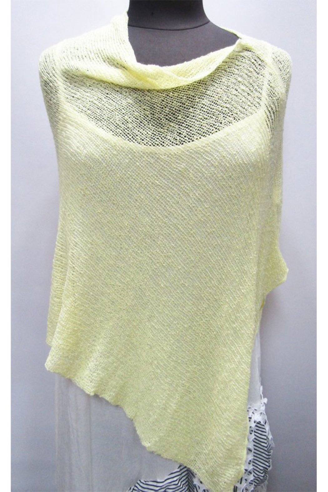 What's In Store Boucle Knit Poncho - Front Cropped Image