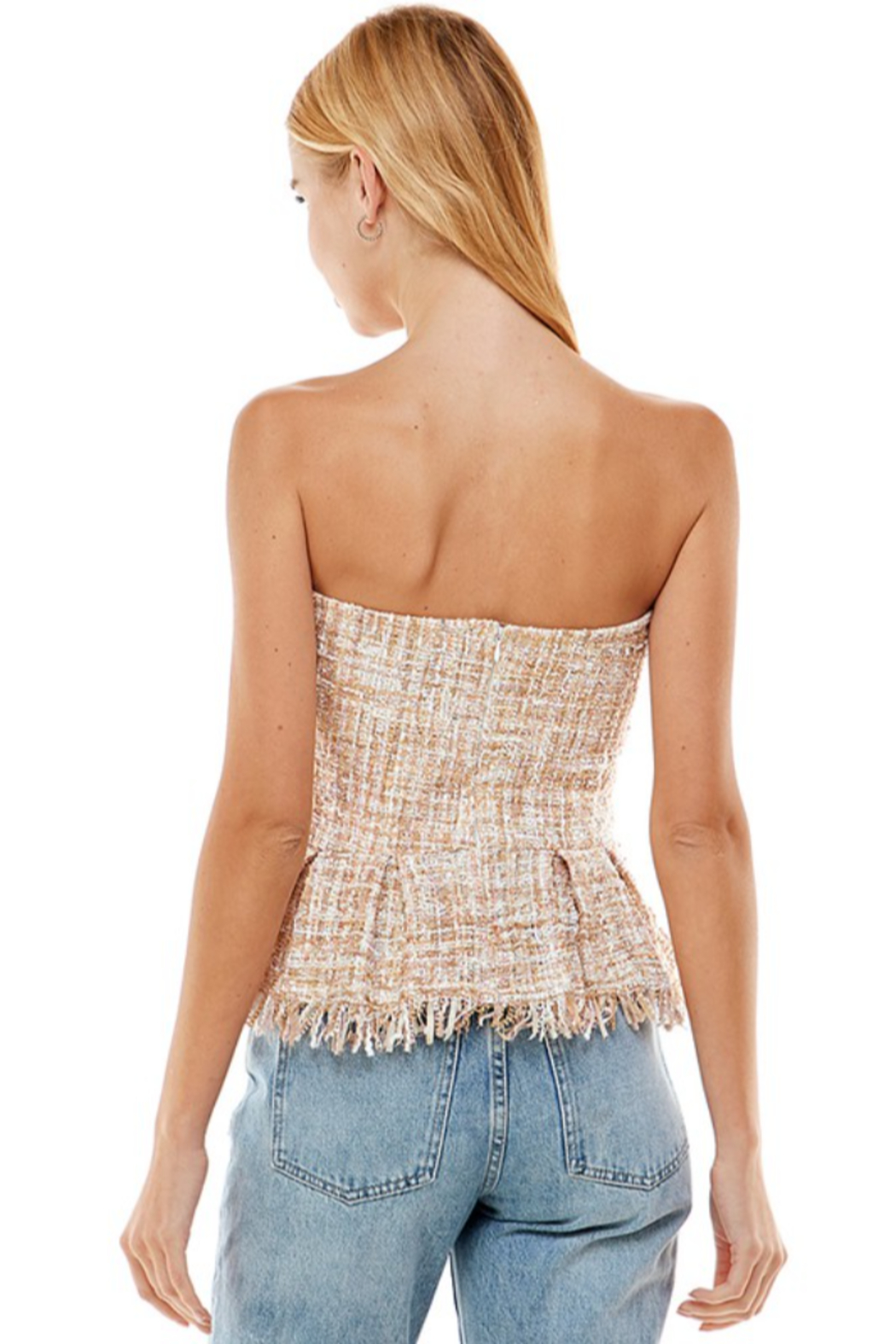 On Twelfth Boucle Peplum Top - Back Cropped Image