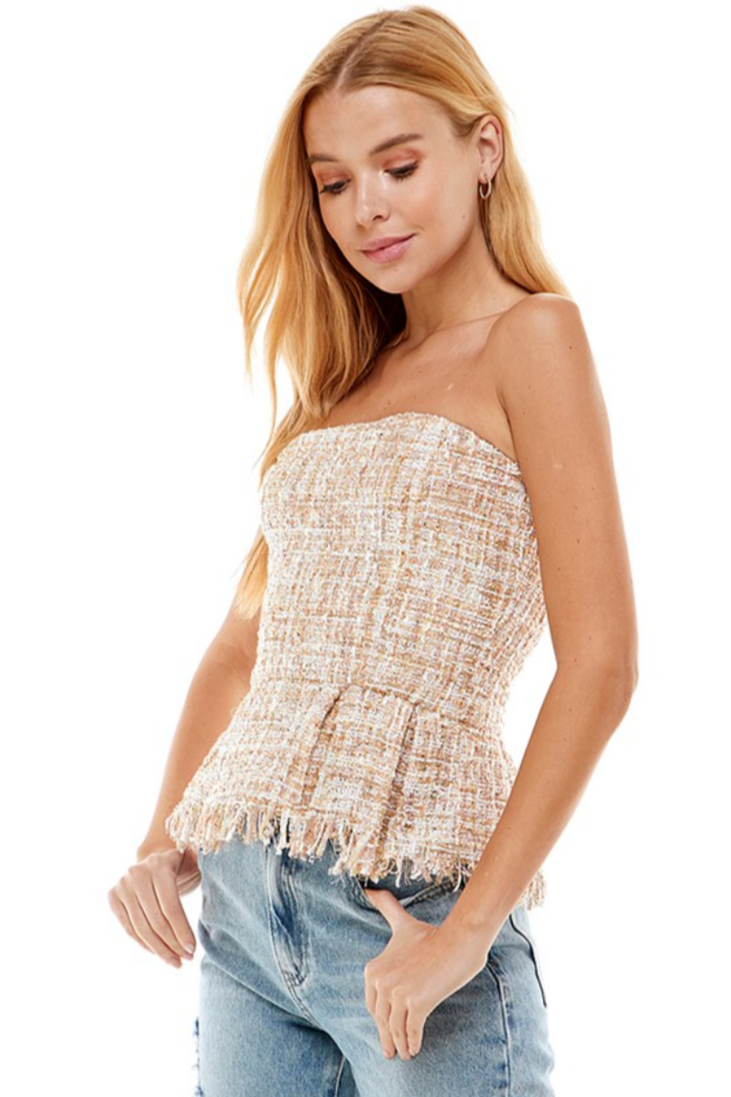 On Twelfth Boucle Peplum Top - Front Full Image